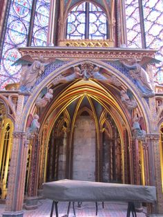 Paris, France - the alter of Sainte-Chapelle 1248.  In the center you can see two angels holding the crown of thorns.