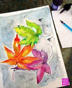 A watercolor sketch~ fall leaves http://valerieweller.blogspot.com