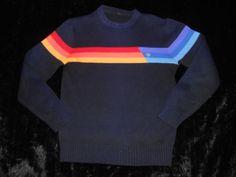 Vtg 80s OCEAN PACIFIC OP Ski Sweater RAINBOW STRIPE Womans M Mens S GUC