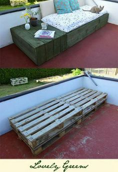 Outdoor day bed from pallets