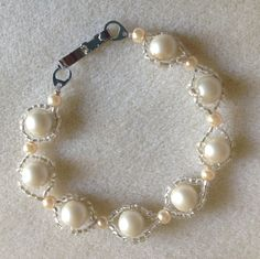 Hand made woven pearl bracelet