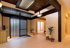 Japanese traditional house, Genkan(entrance hall)伝統的な日本家屋の玄関を現代風に