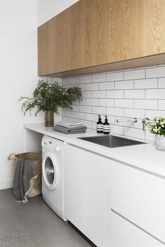 50 Best Tips To Upgrade Your Laundry Room Design. Laundry rooms used to be the neglected room in the house. Find a closet or another room large enough for a washer and dryer, and that was all you need. Beautiful Kitchen Designs, Beautiful Kitchens, Kitchen Interior, Kitchen Decor, Kitchen Furniture, Modern Furniture, Furniture Design, Modern Laundry Rooms, Laundry Room Inspiration