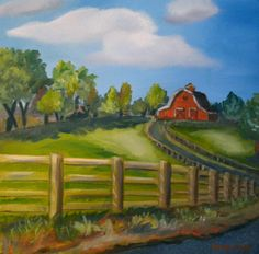 "Barn Art. Red Barn Painting. Barn Landscape Oil Painting. 12""x12"" Gallery…"