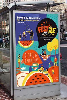 Visuel et affiche fête des quartiers sud ouest de la ville du Mans ©www.mdamcreation.fr