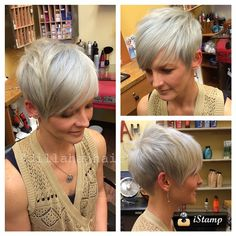 Bleach and tone and trim on the beautiful Andrea. Thanx again friend #hair #haircut #hairstyle #hairstylist #shorthair #shorthaircut #shorthairstyle #pixie #pixiehaircut #redken