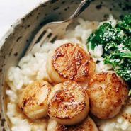 Brown Butter Scallops with Parmesan Risotto! So Luscious! So Fancy! So Christmas-Date-Night-In Perfect. Say hello to this delicious meal!