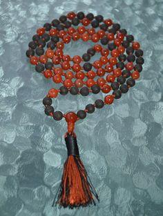 Power stone Red Jasper & Basalt Lava Hand knotted Mala Beads Necklace  – AwakenYourKundalini