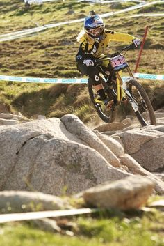 Rachel Atherton displaying her technical prowess on the rocks at Fort William World Cup race earlier this year