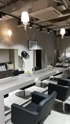"Our GADORA lamps by EVI STYLE conforms to all the locations. In this case the new ""salon de coiffure"" of T.Hair group in the shopping center "" La belle étoile "" in Strassen, Luxembourg . GADORA, a collection that includes the past and the future , tradition and modernity."