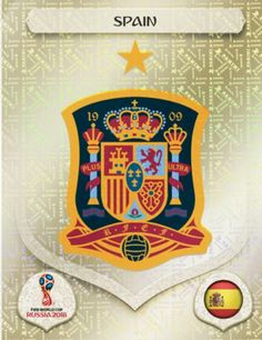 Spain 2018 World Cup Finals card. World Cup Russia 2018, World Cup 2018, Fifa World Cup, Fifa 1, Mens World Cup, Word Cup, Premier League, Fifa Football, Football Stickers