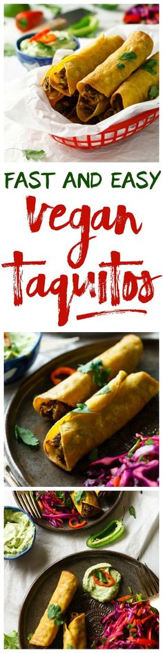 Easy Vegan Taquitos with Avocado Dipping Sauce. Deep fried taste, but they're baked! All you need are vegan bean burger patties, corn tortillas and cooking spray. I _love_ these things. Vegan Mexican Recipes, Veggie Recipes, Whole Food Recipes, Vegetarian Recipes, Cooking Recipes, Healthy Recipes, Eat Healthy, Vegan Recipes For Beginners, Tostada Recipes