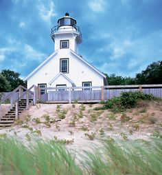 Mission Point Lighthouse on Old Mission Peninsula, near Traverse City, MI. Been here many times and love it! Traverse City Michigan, Michigan Travel, Lake Michigan, Best Places To Live, The Places Youll Go, Amazing Places, Lighthouse Keeper, Solar Lighthouse, Northern Michigan