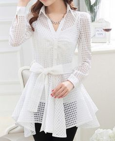 Stylish Turn-Down Collar See-Through Lace-Up Long Sleeve Blouse For Women