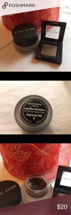 ❄️Bobbi Brown Eye Duo❄️ Like new Long-Wear Gel Eyeliner in Espresso Ink and mini size Brown Stone metallic eye shadow!! Barely used, lots of product left in this set!! Bobbi Brown Makeup Eyeliner