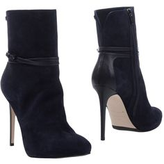Le Silla Ankle Boots ($455) ❤ liked on Polyvore featuring shoes, boots, ankle booties, dark blue, leather buckle boots, leather bootie, zipper ankle boots, leather booties and buckle boots