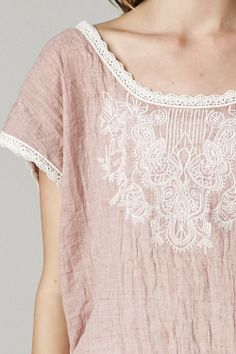 whisper blush embroidered tunic top~