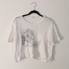 Brandy Melville John Galt Wave Tee White cropped tee with wave decal in black, one size Brandy Melville Tops Tees - Short Sleeve
