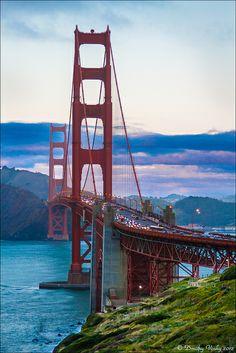 Golden Gate Bridge at twilight, from San Francisco side; photo by Strange Quark San Francisco At Night, Usa San Francisco, San Francisco Girls, Living In San Francisco, San Francisco California, Redwood City California, California Travel, San Francisco Wallpaper, Deforest Buckner