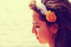 Felt Headband Yellow Flower and Feather SALE by YellowElm on Etsy