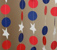 Red Blue and White Circle Star Garland ZinzeeParade, of july party Check out the website to see 4th Of July Celebration, 4th Of July Party, Fourth Of July, 4th Of July Photos, Blue Birthday Parties, Happy Birthday America, Star Garland, 4th Of July Decorations, Patriotic Party