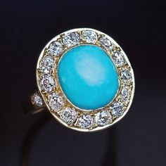 Vintage Turquoise Old Cut Diamond Gold Cluster Ring - Antique Jewelry | Vintage Rings | Faberge Eggs #JewelryVintage