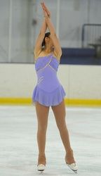 Sk8 Gr8 Designs,  Custom Competition Figure Skating Dress, Lilac with Gold accents. www.sk8gr8designs.com
