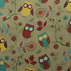 Owls fabric- to make cushion covers Owl Fabric, Cotton Fabric, Nature Prints, Fabulous Fabrics, Cushion Covers, Printed Cotton, Owls, Print Design, Kids Rugs