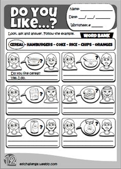 Likes & dislikes - worksheet 12 English Teaching Resources, Learning English For Kids, English Worksheets For Kids, Kids English, English Language Learning, Language Lessons, Learn English, Kids Learning, English Primary School