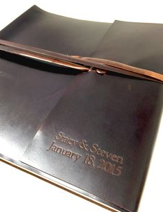 Islander Leather Photo Album – Jenni Bick Bookbinding. Mocha leather album with custom name embossing