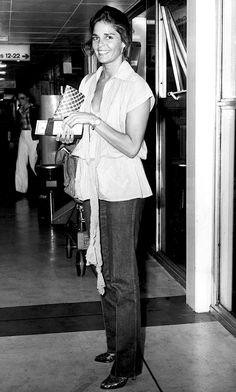 Ali MacGraw arriving at Heathrow Airport, 1978.