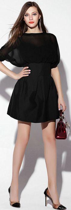 Black Sheer Batwing Sleeves Dress