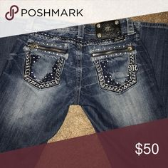 Miss Me Jeans Bootcut, gently used, missing one button on tag(pictured) inseam is 29 Miss Me Jeans Boot Cut