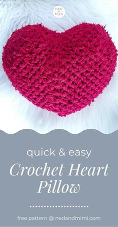 Show your home some love with this easy crochet heart pillow. It uses less than 1 skein of bulky or super bulky yarn and works up in less than an hour! #crochet #crochetheart #crochetpillow