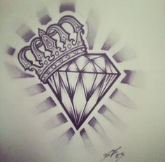 hearts with crowns and diamonds tattoo designs - Google Search