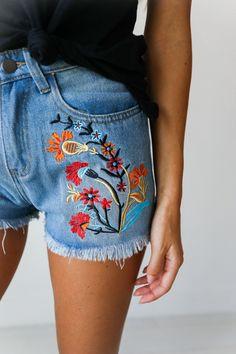 Ella Embroidered Denim Shorts