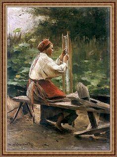 Apoloniusz Kędzierski Tkaczka. Ok. 1900. Olej na desce. 28,2 x 19,5 cm. Muzeum Narodowe, Kraków.
