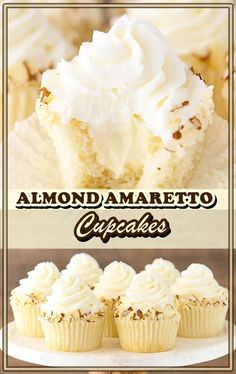 These Almond Amaretto Cupcakes have a humid almond cupcake, almond frosting and a fluffy white chocolate amaretto center! Almond Frosting, Almond Cupcakes, Vegan Cupcakes, Overnight Breakfast Casserole, French Toast Casserole, Vegan Cupcake Recipes, Vegetarian Recipes, Amaretto Recipe, Dessert Dishes