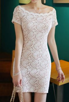Apricot Boat Neck Short Sleeve Lace Bodycon Dress - Sheinside.com