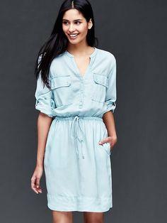 Chambray utility dress