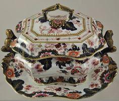 John Ridgway Transfer & Enamel Decorated Sauce Tureen Valentia Pattern 1835, $125
