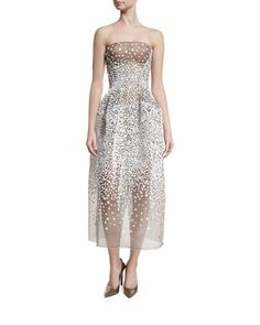 Strapless Sequined Illusion Gown, White/Black by Zac Posen at Neiman Marcus.