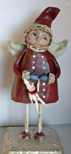 >BOY HOWDIE PAPIER MACHE FOLK ART by Dawn Tubbs, Folk Art Christmas Angel with Doll