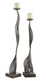 Pascal Abstract Pillar Candle Holders, Set of 2