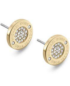 Michael Kors Gold-Tone Crystal Pave Logo Stud Earrings - Michael Kors - Jewelry & Watches - Macy's