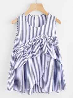 DIDK Women Frill Trim Overlap Shell Top Blue Sleeveless Striped Blouse Casual Round Neck Tiered Blouse With Ruffle Zipper Girl Fashion, Fashion Outfits, Fashion Design, Fashion Trends, Mom Outfits, Casual Outfits, Hijab Style, Shell Tops, Blouse Dress