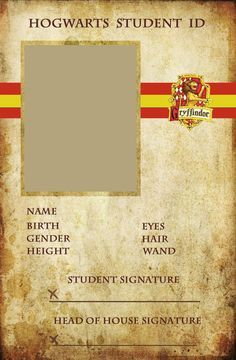 Hogwarts Student ID card