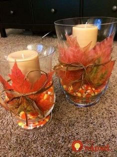 Start collecting fallen leaves: 25 amazing ideas on how to turn them . - Start collecting fallen leaves: 25 amazing ideas to turn them into gorgeous autumn decorations! Thanksgiving Crafts, Thanksgiving Decorations, Fall Crafts, Seasonal Decor, Holiday Decor, Autumn Decorations, Dyi Crafts, Fall Table Centerpieces, Decoration Table