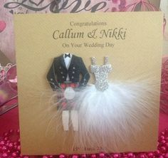 HANDMADE PERSONALISED WEDDING CARD BRIDE GROOM SCOTTISH KILT FEATHER DRESS