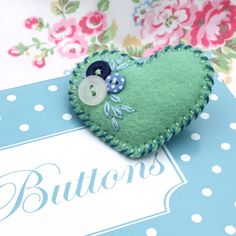Little felt and button brooch - 'Heart-Felt' - Soft sage green - FREE UK P £4.75